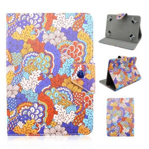 Leather Stand Cover for Galaxy Tab E 9.6 / iPad Air 2, Size: 265 x 177mm - Henna Paisley Style Pattern