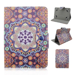Leather Stand Case for Galaxy Tab E 9.6 / iPad Air 2, Size: 265 x 177mm - Mandala Flower Pattern
