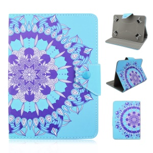 Universal Leather Stand Case for Galaxy Tab E 9.6 / iPad Air 2, Size: 265 x 177mm - Blue Henna Lotus