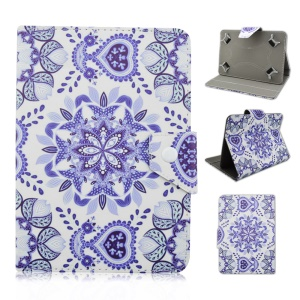 Universal Leather Case for Galaxy Tab E 9.6 / iPad Air 2, Size: 265 x 177mm - Purple India Flower Pattern