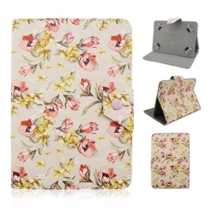 Universal Leather Flip Case for Galaxy Tab E 9.6 / iPad Air 2, Size: 265 x 177mm - Elegant Flowers