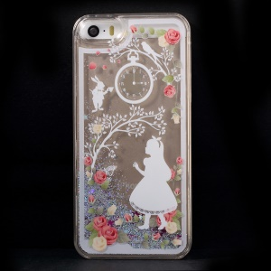 Dynamic Flash Powder Transparent Plastic Cover for iPhone 5s 5 - Girl & Flower & Watch