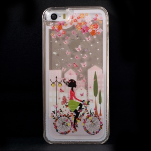 Dynamic Flash Powder Transparent PC Phone Case for iPhone 5s 5 - Girl Riding Bike