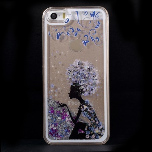Dynamic Flash Powder Transparent PC Phone Case for iPhone 5s 5 - Sexy Girl
