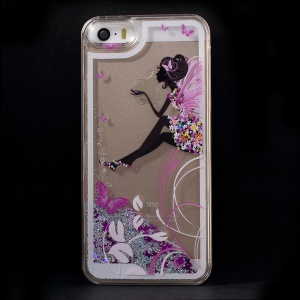 Dynamic Flash Powder Transparent Plastic Protective Case for iPhone 5s 5 - Sexy Lady and Butterfly