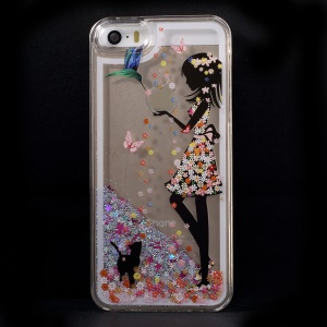 Dynamic Flash Powder Transparent Plastic Shell Case for iPhone 5s 5 - Girl and Animals
