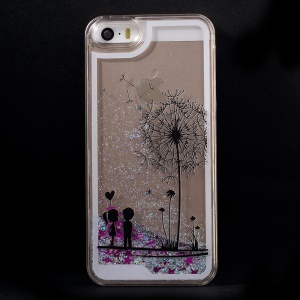 Dynamic Flash Powder Transparent Plastic Shell Case for iPhone 5s 5 - Dandelion and Lovers