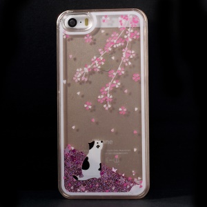 Dynamic Flash Powder Transparent PC Cover for iPhone 5s 5 - Cat and Flower