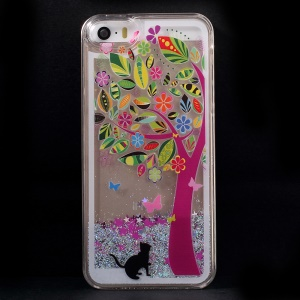 Dynamic Flash Powder Transparent PC Cover for iPhone 5s 5 - Flower Tree