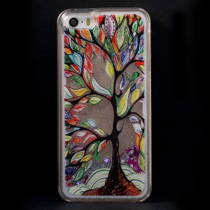 Dynamic Flash Powder Transparent Plastic Cover for iPhone 5s 5 - Painting Tree