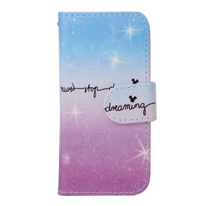 For iPhone 5s 5 Faux Leather Wallet Case Cover - Never Stop Dreaming