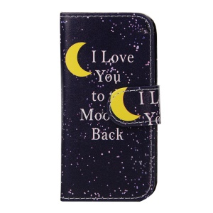 For iPhone 5s 5 Faux Leather Wallet Cover - Moon Night and I Love You to the Moon and Back