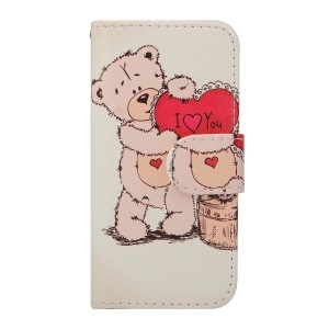 For iPhone 5s 5 Magnetic Leather Wallet Cover - Lovely Bear Holding Love Heart