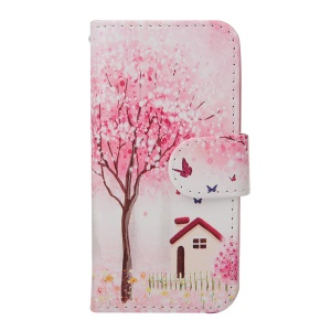 Leather Flip Wallet Cover for iPhone 5s 5 - Pink Flowers Tree, Butterflies and House