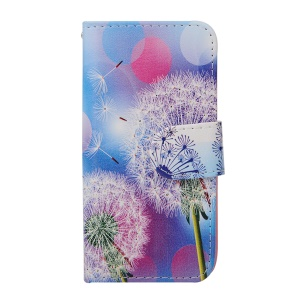 Leather Flip Case Stand Card Holder for iPhone 5s 5 - White Dandelion and Circles