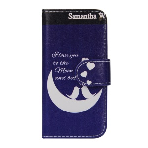 Leather Cover Case Card Holder for iPhone 5s 5 - Sweet Birds and I Love You to the Moon and Back