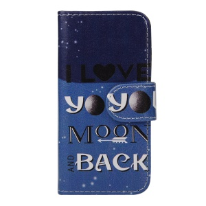 Leather Phone Cover Case for iPhone 5s 5 - Arrow and I Love You to the Moon and Back