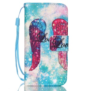 Leather Wallet Stand Phone Shell for iPhone 5s 5 - Angel's Wing