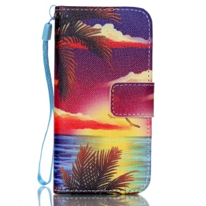 Leather Wallet Stand Phone Cover for iPhone 5s 5 - Sea Scenery