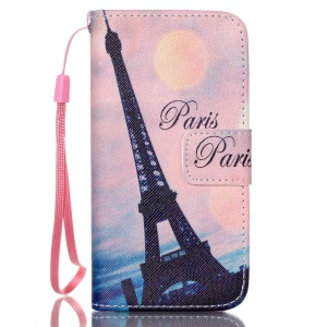Leather Wallet Stand Phone Cover for iPhone 5s 5 - Paris Eiffel Tower