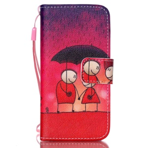 Leather Wallet Stand Phone Cover for iPhone 5s 5 - Lover in the Rain