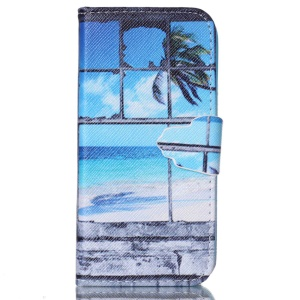 Wallet Leather Stand Case for iPhone 5c - Coconut Trees and Beach