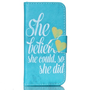 Wallet Leather Stand Cover for iPhone 5c - Hearts and Short Sentence