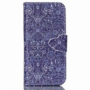 Wallet Leather Stand Case Cover for iPhone 5c - Retro Flowers