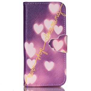 Wallet Leather Stand Cover Case for iPhone 5c - Never Stop Dreaming and Hearts