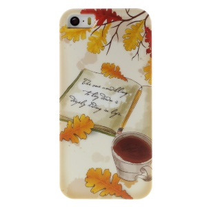 PQY Plastic Hard Phone Case for iPhone 5s 5 - Autumn Cozy Life Note and Coffee