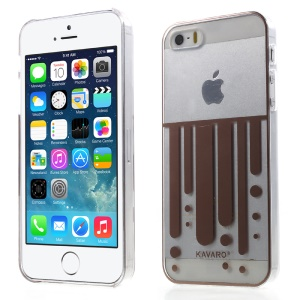 KAVARO Clear Plastic Hard Case for iPhone 5s 5 - Coffee Vertical Flow Lines