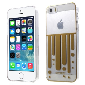 KAVARO Clear PC Hard Phone Case for iPhone 5s 5 - Gold Vertical Flow Lines