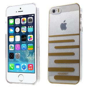 KAVARO Clear PC Hard Mobile Phone Case for iPhone 5s 5 - Gold Horizontal Lines