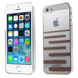 KAVARO Clear PC Hard Mobile Phone Cover for iPhone 5s 5 - Coffee Horizontal Lines