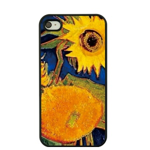 For iPhone 4S / 4 Van Gogh Oil Painting Hard Plastic Case - Sunflowers