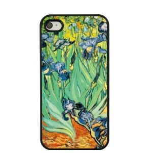 For iPhone 4S / 4 Van Gogh Oil Painting Hard Plastic Cover - Garden of Irises