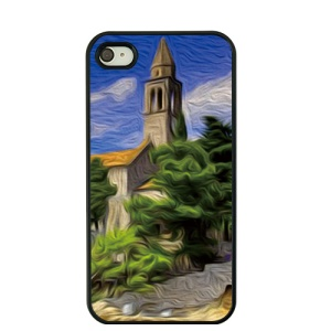 For iPhone 4S / 4 Oil Painting Hard Plastic Shell - Seaside Castle