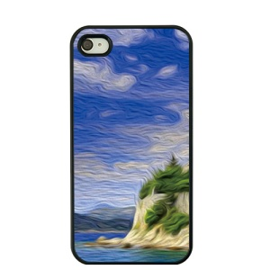 For iPhone 4S / 4 Oil Painting Hard Plastic Shell Case - Seaside and Blue Sky