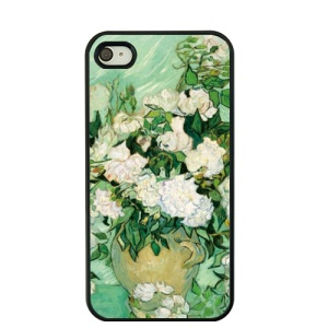 For iPhone 4S / 4 Van Gogh Oil Painting Hard Phone Cover - Roses