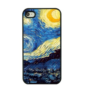 For iPhone 4S / 4 Van Gogh Masterpiece Oil Painting Hard Phone Case - Starry Night