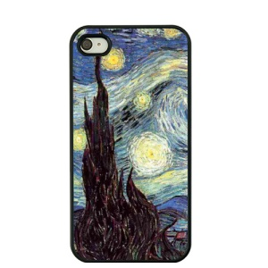 For iPhone 4S / 4 Van Gogh Masterpiece Oil Painting Plastic Case - The Starry Night
