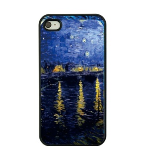 For iPhone 4S / 4 Vincent Van Gogh Oil Painting Plastic Shell - Starry Night over the Rhone
