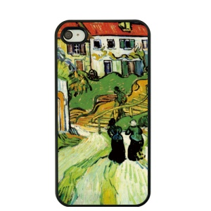 Oil Painting by Vincent Van Gogh Hard Case for iPhone 4S / 4 - Village Street and Stairs