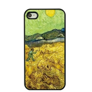 Vincent Van Gogh Oil Painting Protective Hard Case for iPhone 4S / 4 - Wheatfield with Reaper