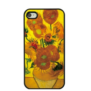 Van Gogh Oil Painting Protective Hard Cover for iPhone 4S / 4 - Twelve Sunflowers in a Vase