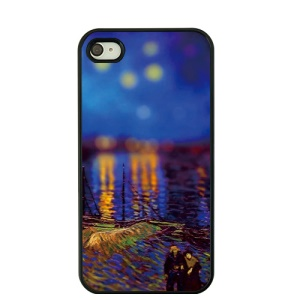 Van Gogh Oil Painting Protective Hard Shell for iPhone 4S / 4 - Night Stars over the Rhone