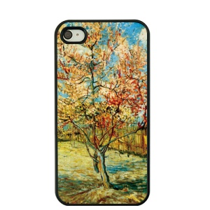 Van Gogh Oil Painting Hard Phone Case for iPhone 4S / 4 - Peach Tree in Blossom
