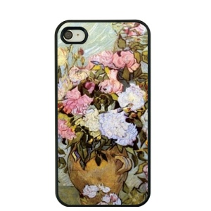 Van Gogh Oil Painting Hard Phone Cover for iPhone 4S / 4 - Vase with Roses