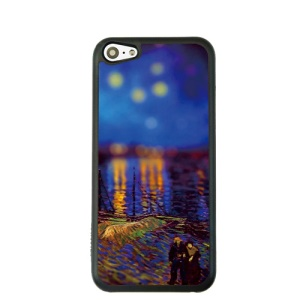 Oil Painting Style for iPhone 5c Hard Cover Protector - Night Stars over the Rhone