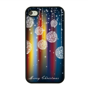 Christmas Series Hard Phone Cover for iPhone 4s / 4 - Ball Pendants and Merry Christmas Pattern